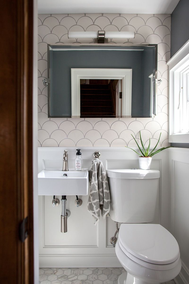 How To Tile A Small Space On A Budget Small Half Bathrooms Tiny Powder Rooms Small Bathroom Colors