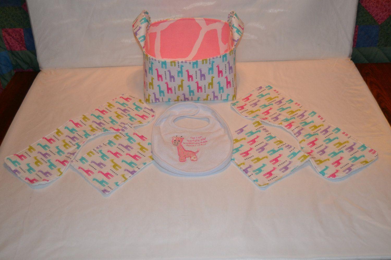Pink Giraffe Baby Gift Basket or Gift Basket Set by DesignsByJenn48 on Etsy