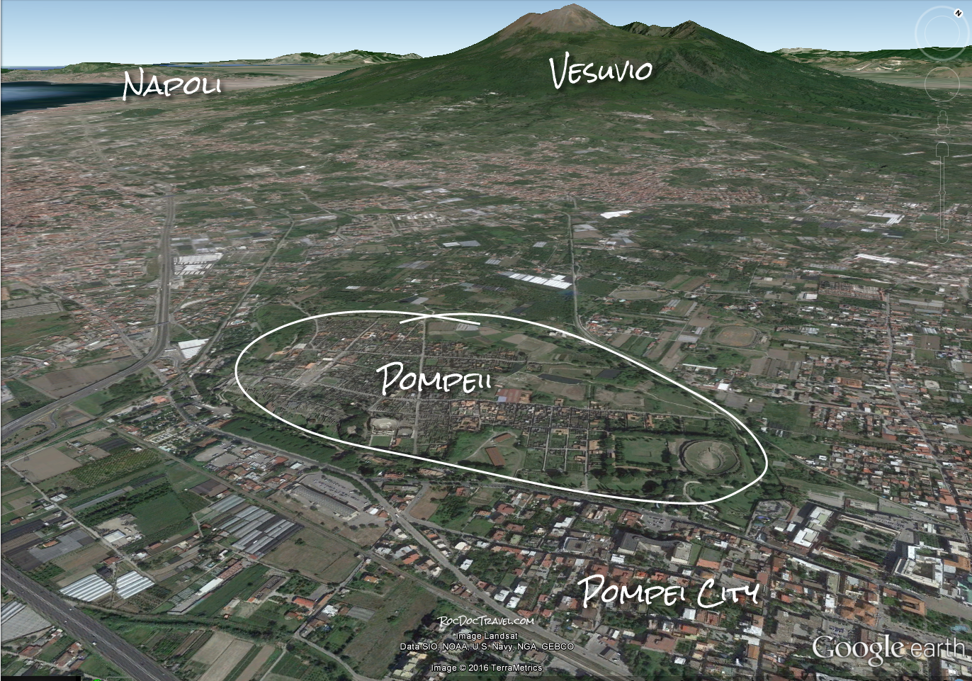 Google earth view of pompeii and vesuvius pyroclastic flows google earth view of pompeii and vesuvius pyroclastic flows avalanched 10 miles down the slopes publicscrutiny Image collections