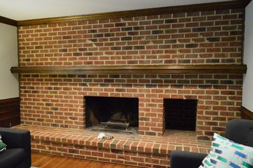How to whitewash a brick wall or fireplace bricks dark - Brick wall fireplace makeover ...