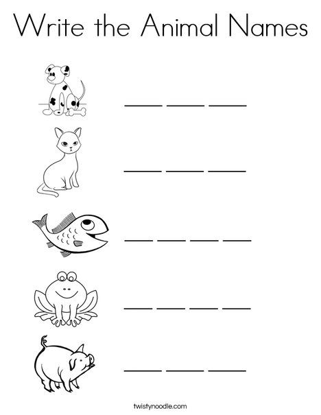 Write the Animal Names Coloring Page Twisty Noodle