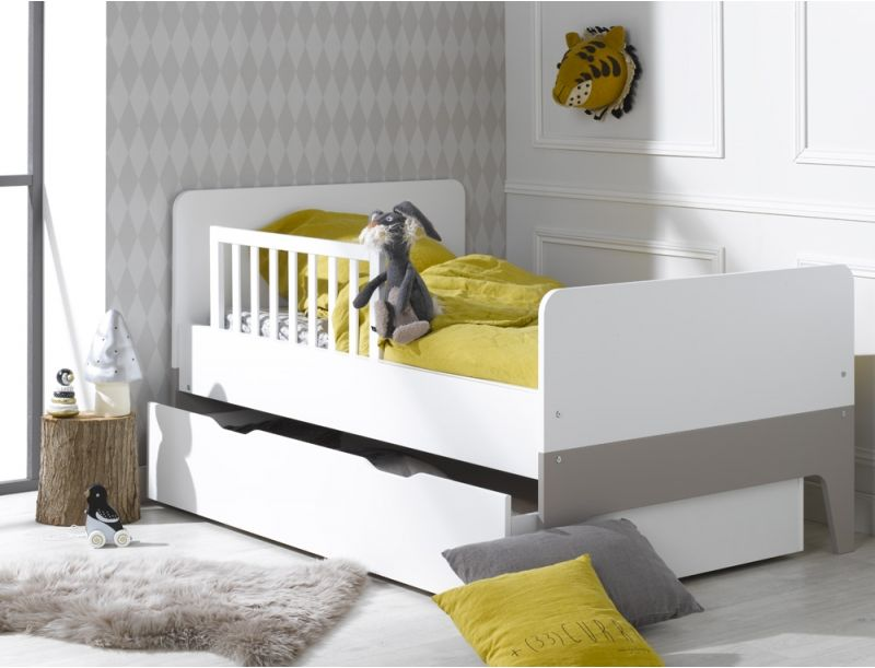 lit volutif enfant city blanc barri re et tiroir en option kid bedroom pinterest lit. Black Bedroom Furniture Sets. Home Design Ideas