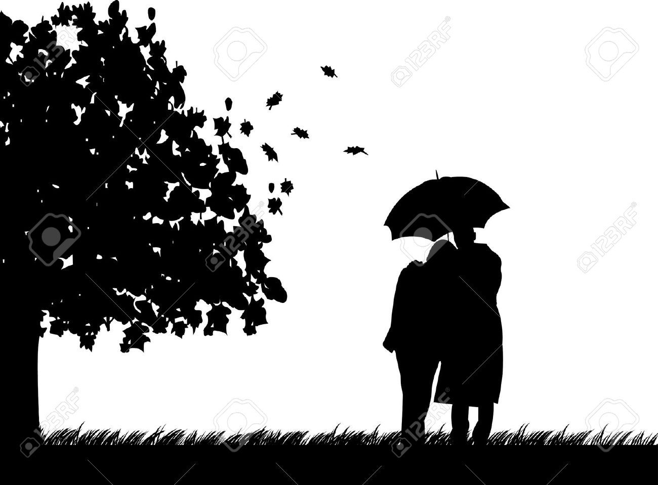 Background With Couple Walking Umbrella Under The Tree In Autumn Or Fall Silhouette One Series Of Similar Images Illustration