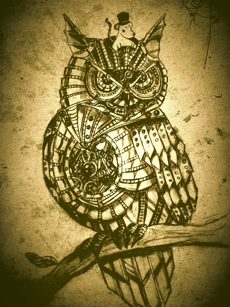 Mechanical Owl With Mouse Steampunk Art Steampunk Owls Owls Drawing