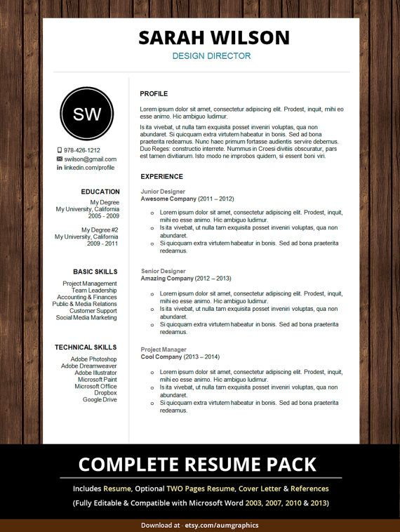 Professional Resume Template With Cover Letter  Curriculum Vitae