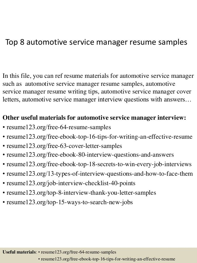 Top 8 Automotive Service Manager Resume Samples Di 2020 Marketing