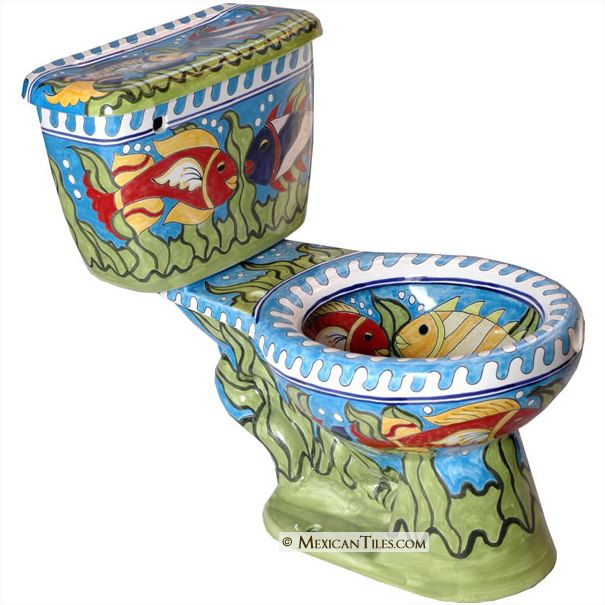 Delightful Mexican Tile     ON SALE   Caribe Mexican Talavera Porcelain Bathroom  Toilet $620.