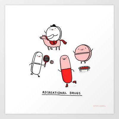 Recreational Drugs Art Print by Gemma Correll - $18.00