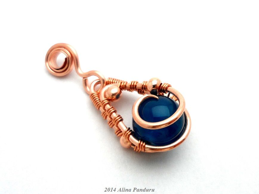 Reversible Blue Agate Pendant by Alina Panduru   wire jewellery ...