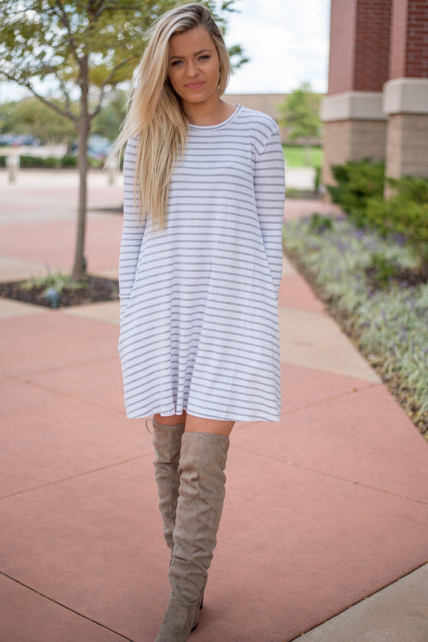 0ee64c2082e8 Piko long sleeve swing dress white grey stripe