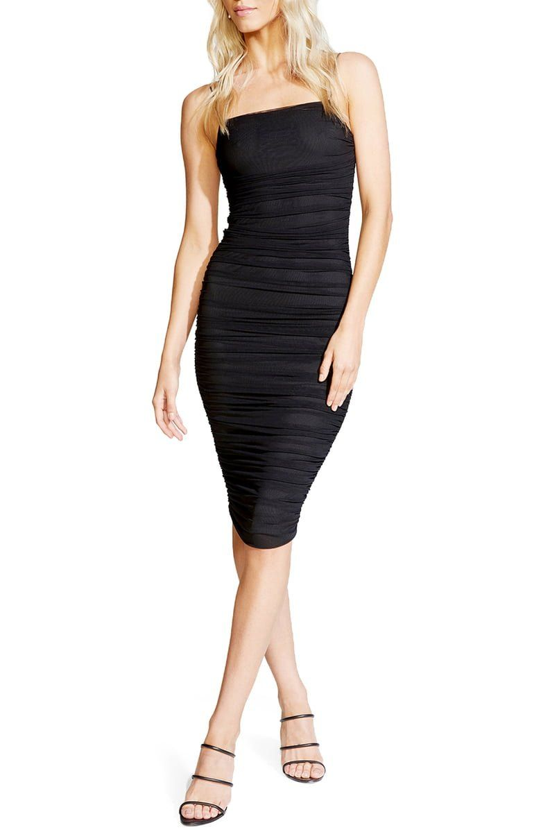 Large black slinky ruched front square neck bodycon dress sweater new look