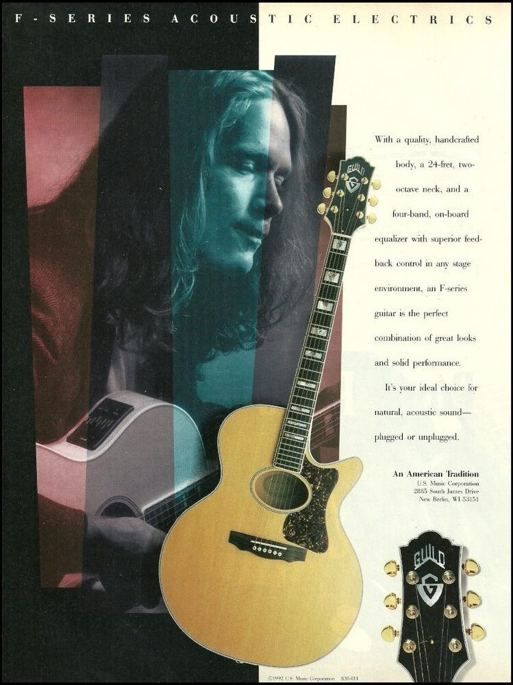 Guild 1992 F Series A E Acoustic Electric Guitar Ad 8 X 11 Advertisement Print Guild Acoustic Electric Guitar Guild Acoustic Guitars Acoustic Electric
