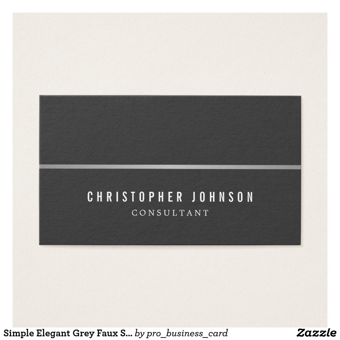 Simple Elegant Grey Faux Silver Line Attorney Business Cards On
