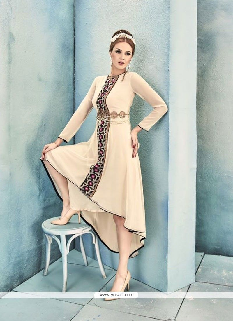 Distinguishable Embroidered Work Georgette Beige Party Wear Kurti ...
