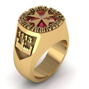 Sovereign Military Order Of Malta Custom Signet Ring In 14k Yellow Gold With 12 Mm Natural Garnet By Mary N Custom Ring Designs Custom Signet Ring Custom Rings