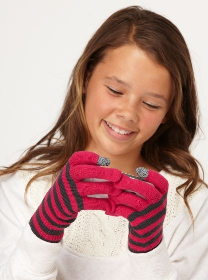 Girls 7-14 Smiley Face Texting Gloves - Roxy