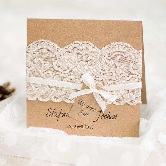 Rustikale Hochzeitskarte Einladung Mit Spitze Und Satinband OPL109
