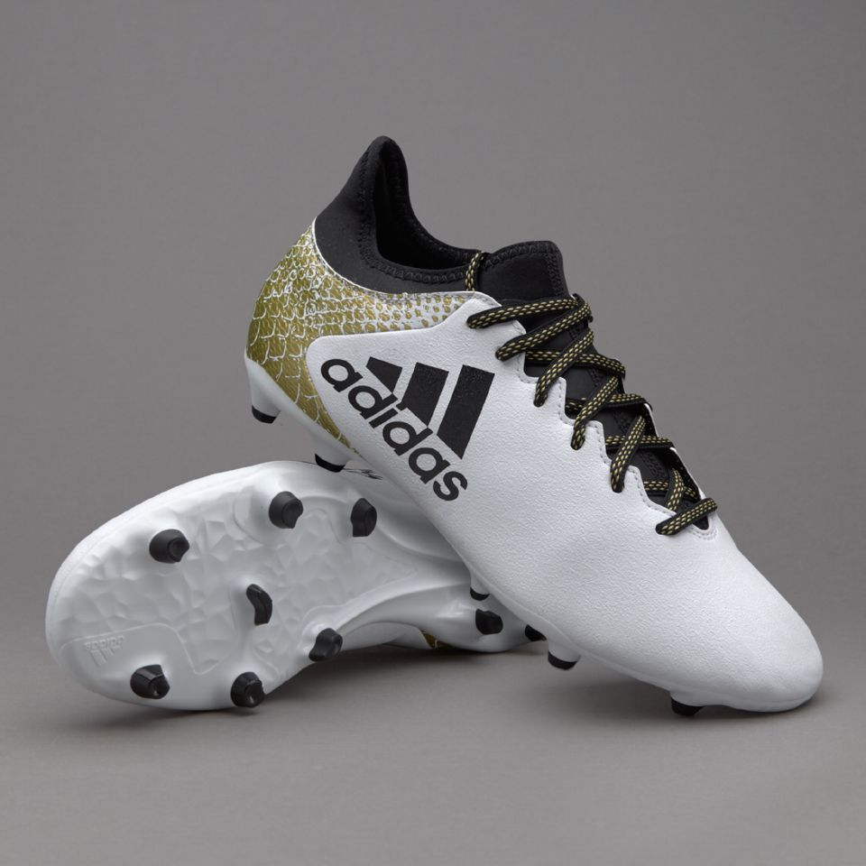 adidas X 16.3 FG/AG - White/Core Black/Gold Metallic
