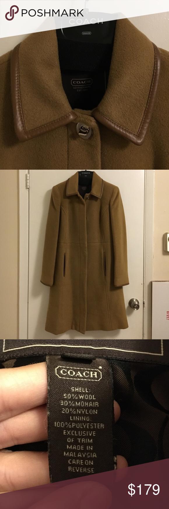 a274bebd3e5 Coach Knee-length Wool Coat EUC. Worn 2x. Leather trims on collar