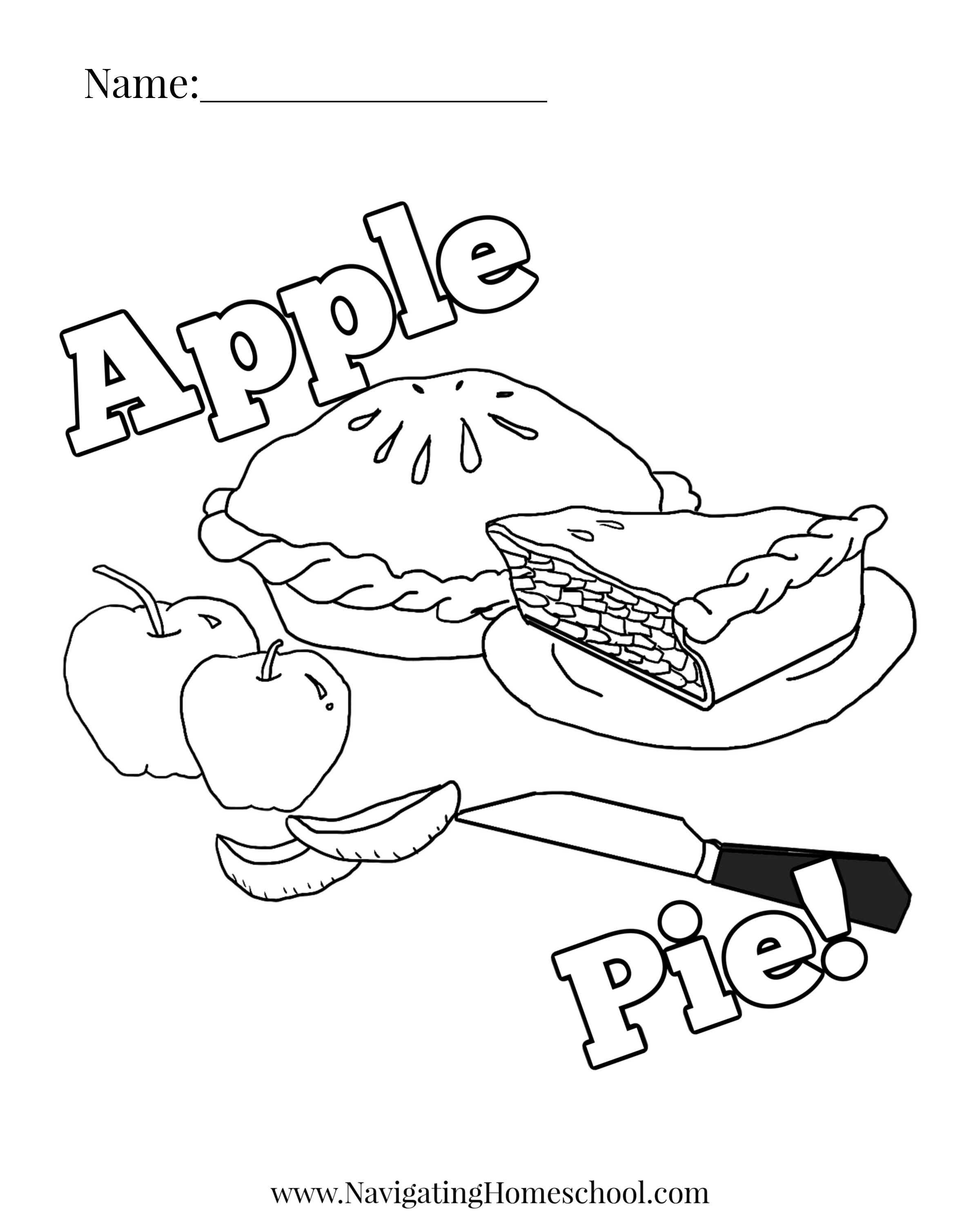 Apple Pie Coloring Sheet Free Thanksgiving Printables Thanksgiving Activities For Kindergarten Thanksgiving Elementary Activities