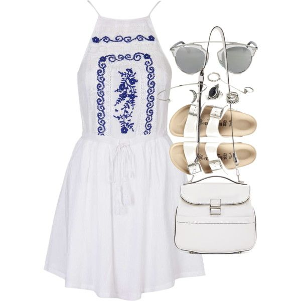 Outfit with Birkenstocks for summer by ferned on Polyvore featuring Topshop, Birkenstock, Proenza Schouler, Forever 21, Christian Dior, women's clothing, women's fashion, women, female and woman