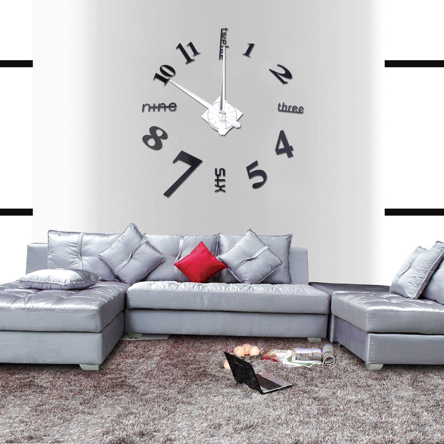 Modern diy large wall clock d mirror surface sticker home decor art