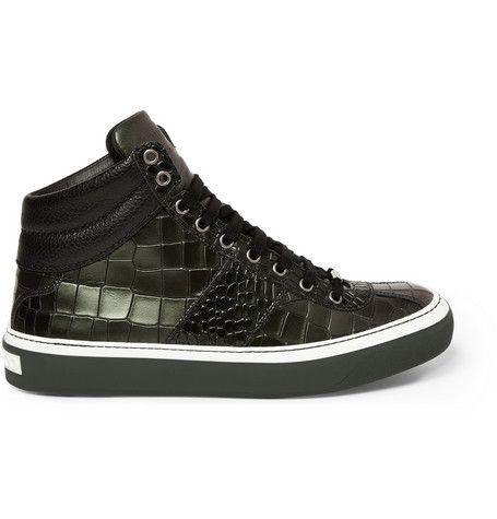 Jimmy Choo Belgravia Crocodile-Embossed Leather High-Top Sneakers  |