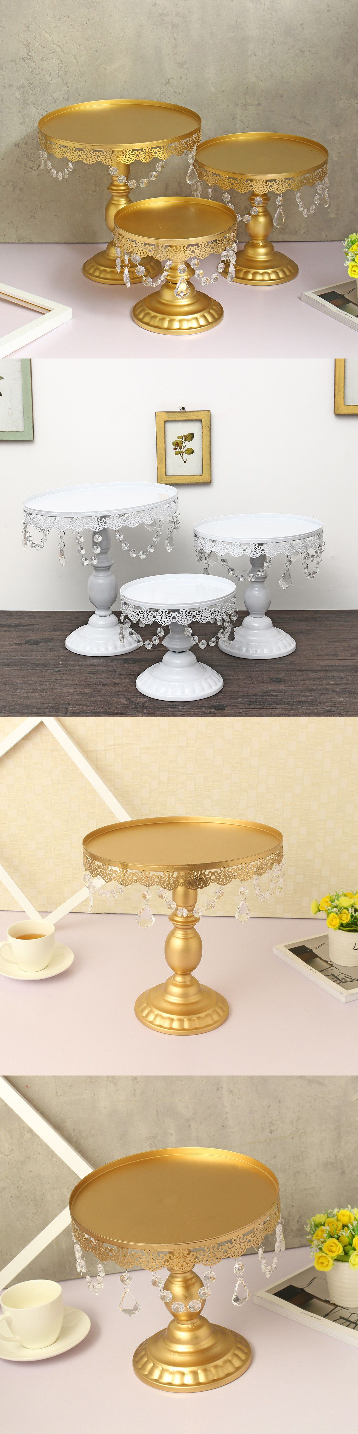 piece cake stand set glass top crystal dessert wedding party