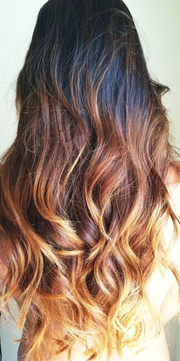 like this even MORE! pretty brown flame: black to amber blonde ombre hair