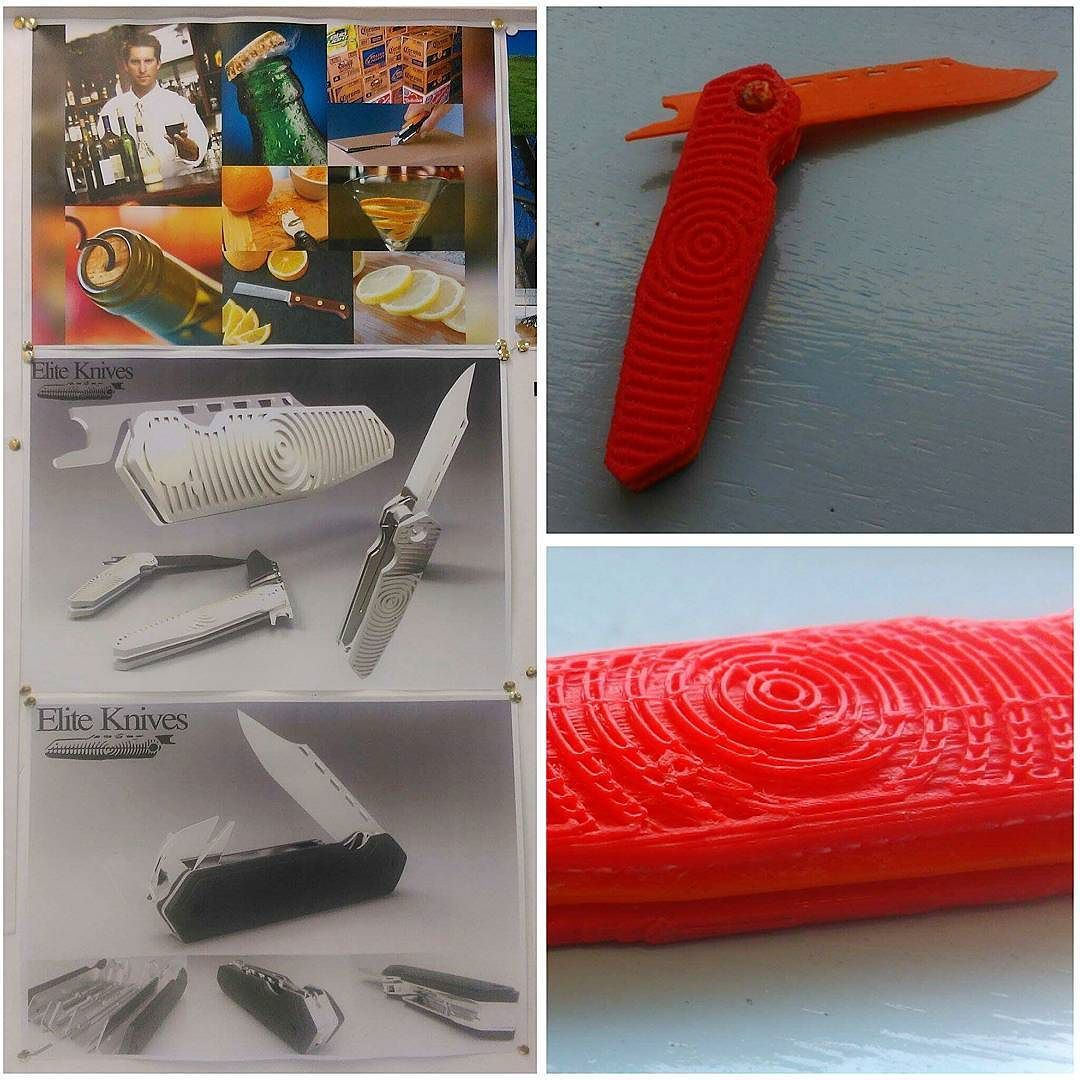 Something we liked from Instagram! Presentation sheets and shabby prototype.. needs improving and development.. still to use a 3D printer for the first time though. Quality of images aren't great also soz #sorrynotsorry #productdesign #industrialdesign #college #work #presentation #sheet #solidworks #keyshot #knife #pocketknife #multitool #moodboard #persona #swag #3D #3dprinting #3dprinter by _dudenmeister check us out: http://bit.ly/1KyLetq