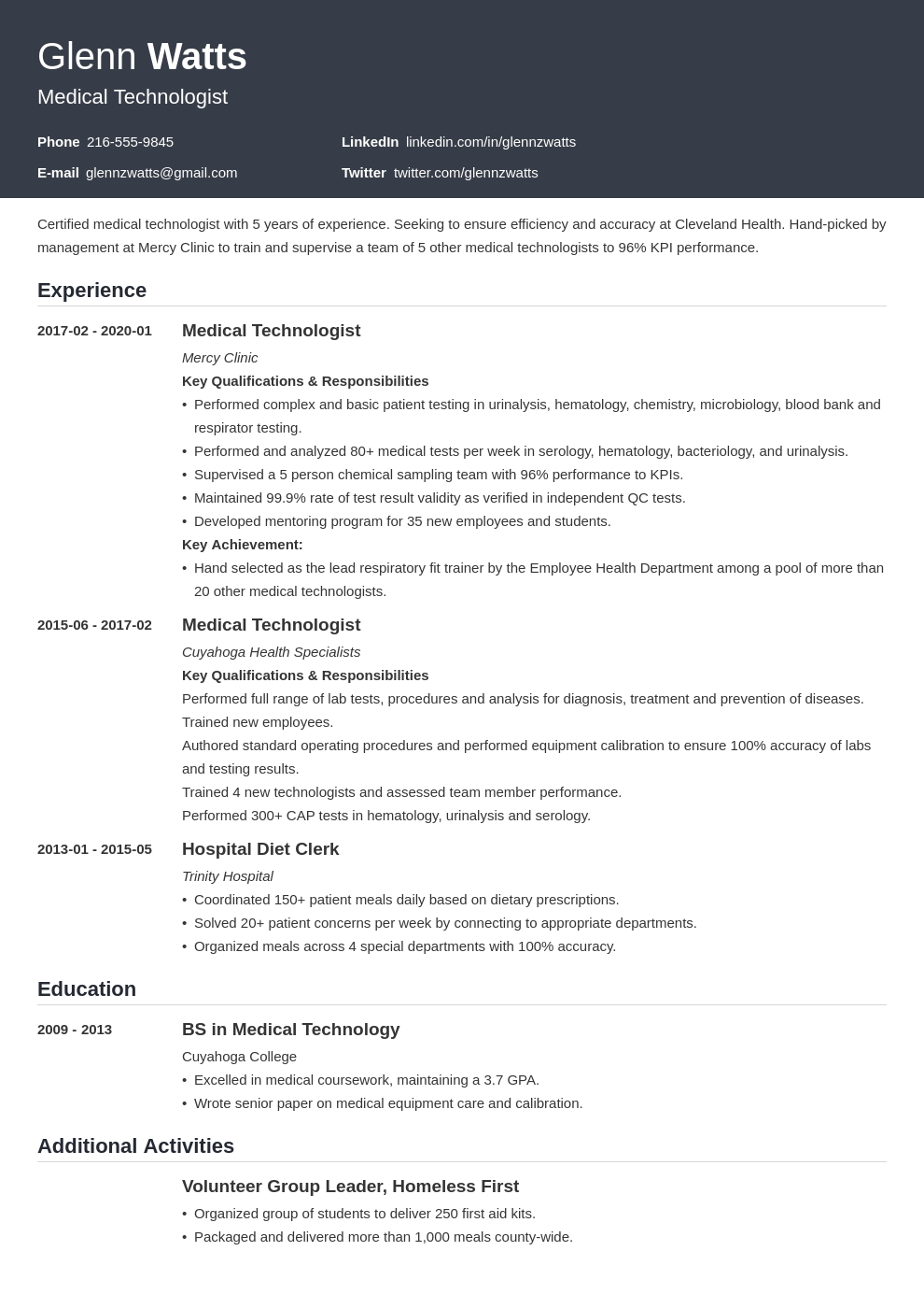 Medical Technologist Resume Example Template Influx Resume Examples Resume Layout Job Resume Examples