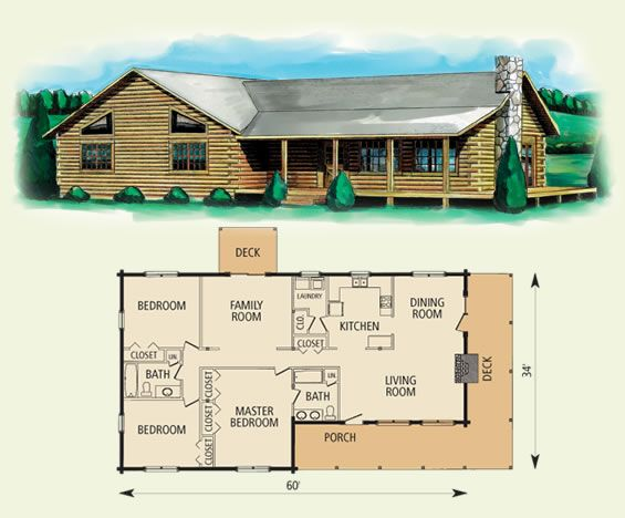 hampshire log home and log cabin floor plan 3 bed room