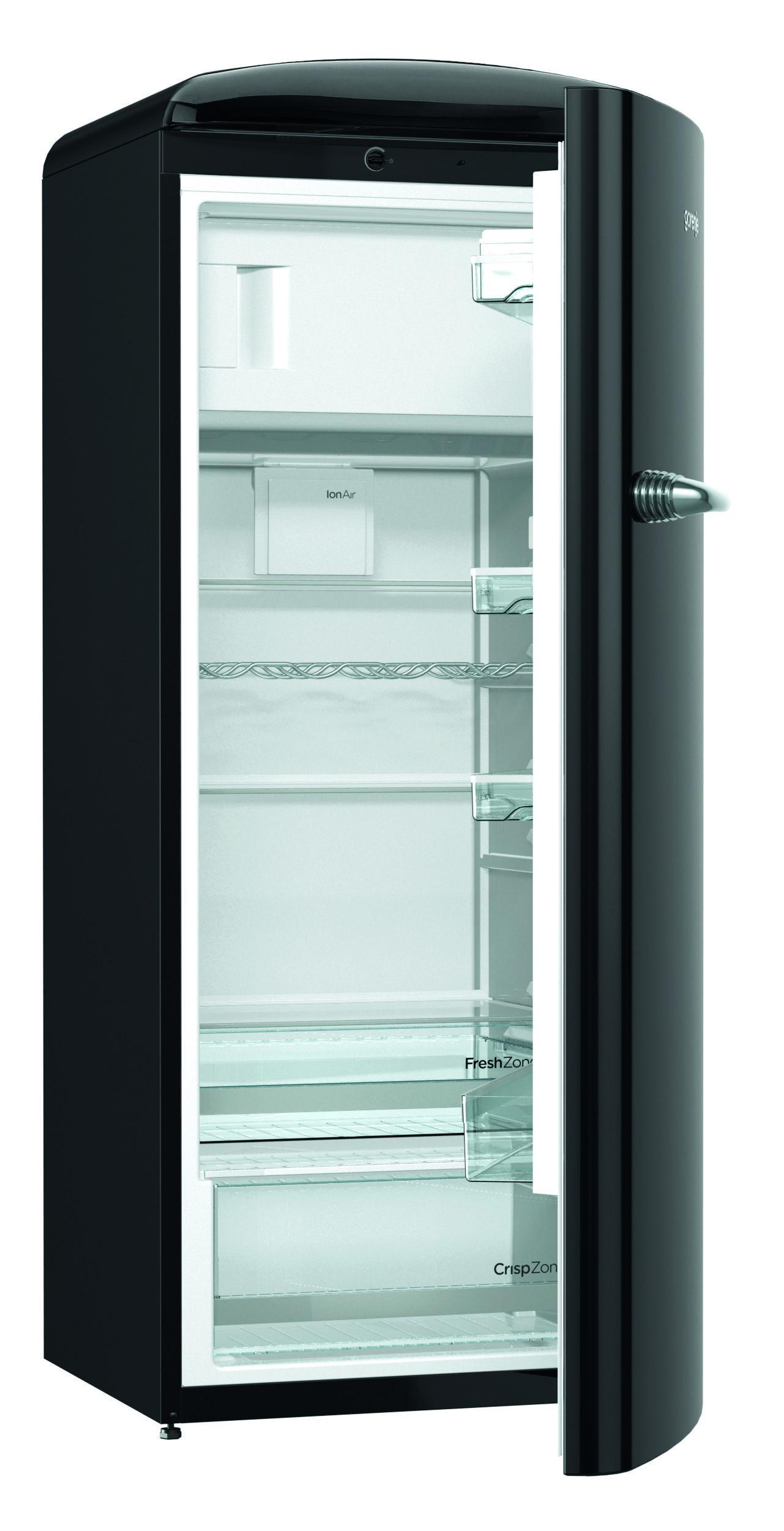 Gorenje Retro ORB153BK Refrigerator Black cut out open door