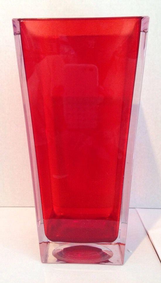 Hand Blown Ruby Red Bohemian Glass vase 9.5 Inch.Czech Republic $44.00