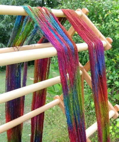 Painted Warp for Plain Weave Scarf, (drying on the rack)