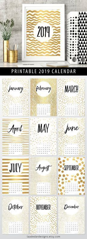 2019 Printable Calendar Gold A4 - Instant Download - 12 Month New