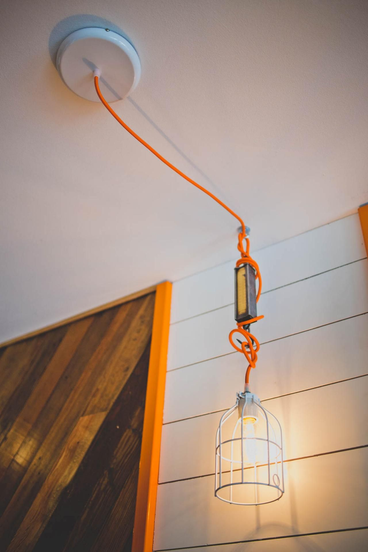 Pendants were diy with parts from color cord company and old bank