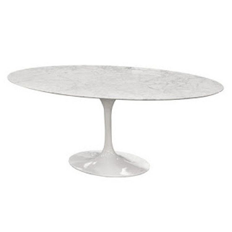Eero Saarinen Style Oval Tulip Marble Top Dining Conference Table