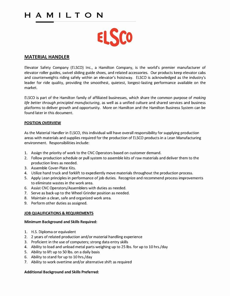 20 Material Handler Job Description Resume Job