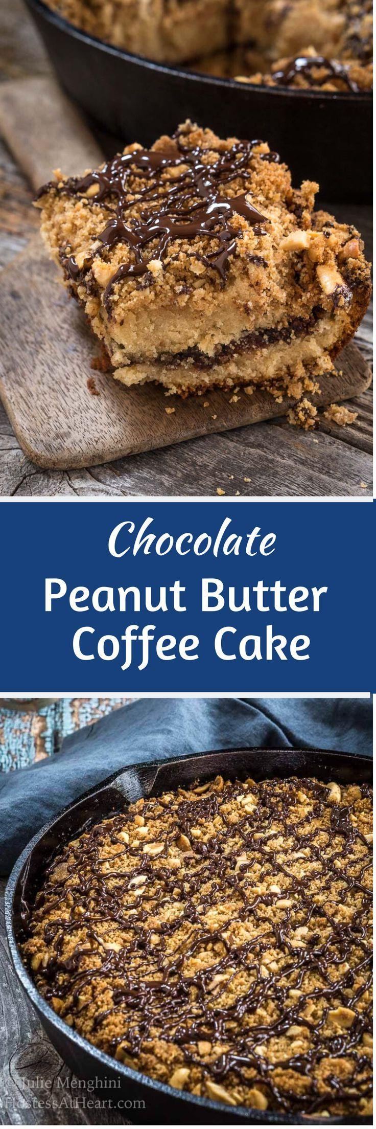 Chocolate peanut butter coffee cake is a sweet homemade