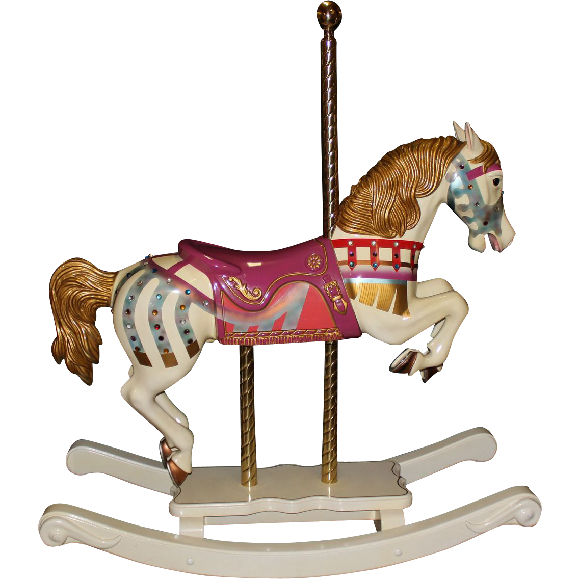 swing chair transparent white leather armless s and woodcarvers diana ross wooden carousel horse with