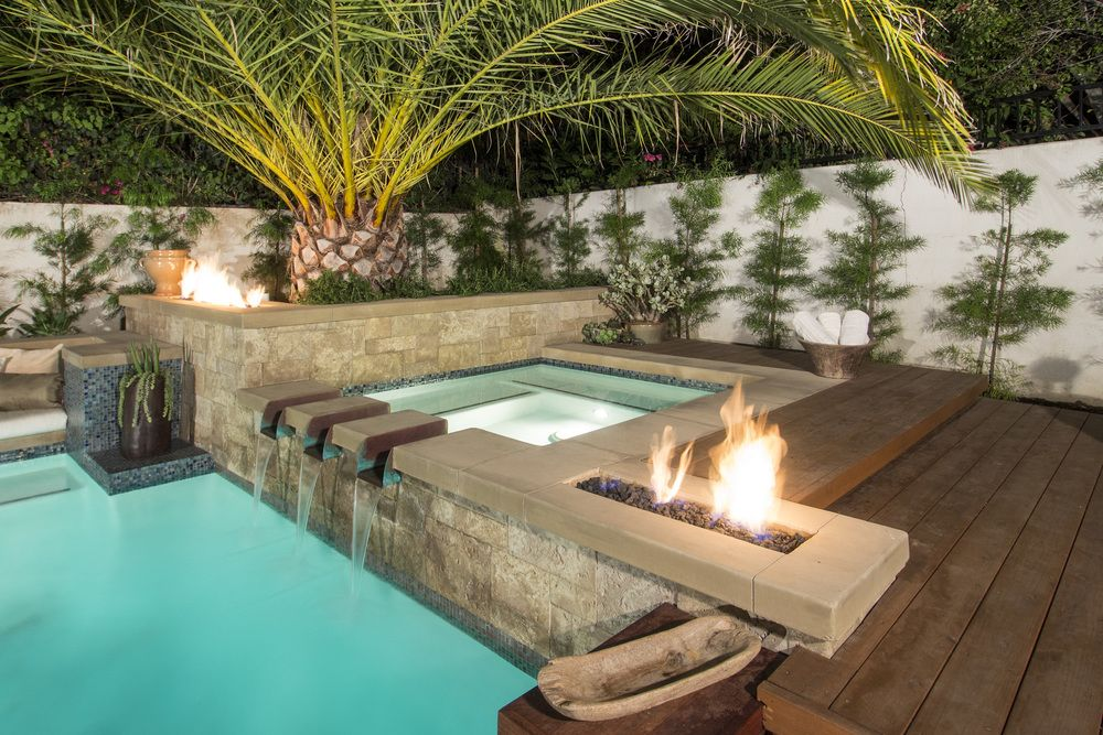 Image Result For Pool With Fire Fire Feature Pool Fire Features