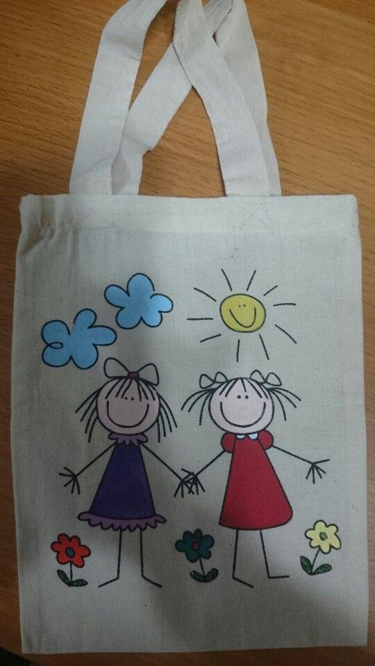 Bolsa pintada mis labores pinterest pintura en tela - Dibujos para pintar en tela infantiles ...