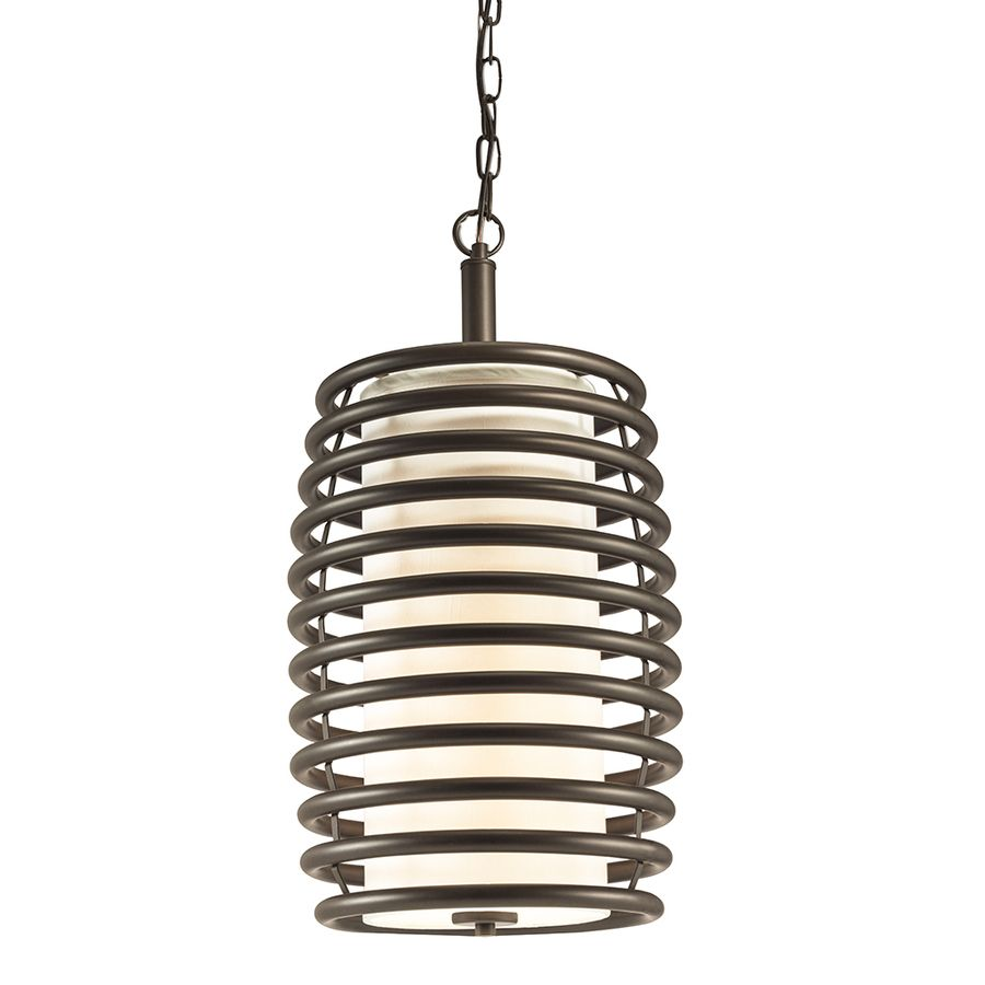Kichler Lighting Bands 11.69-in Olde Bronze Industrial Single Etched Glass Cylinder Pendant