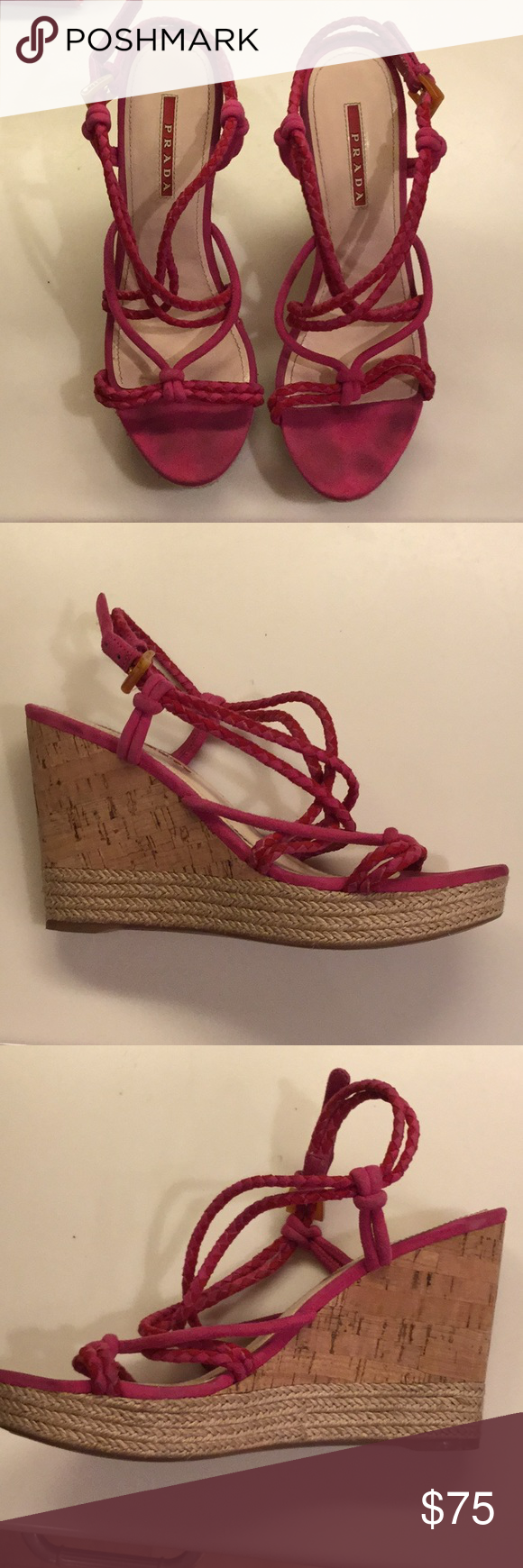 8e2528ca1b47e Prada hot pink suede cork wedge Pink Prada round toe wedge sandals with  cork heels. Jute accent at soles, and buckle closure at ankle. Prada Shoes  Sandals