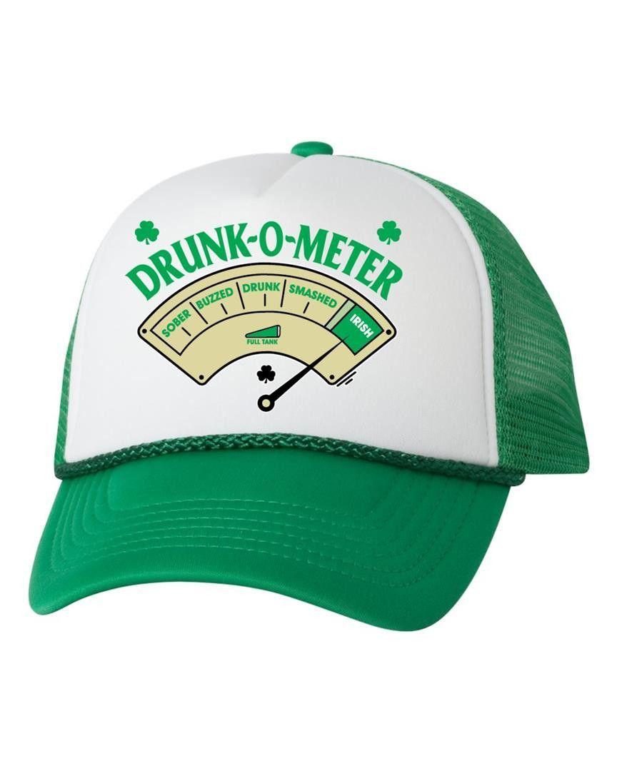782eb98ddb05a Drunk-O-Meter hat st patricks day irish drunk shamrock dual color trucker  cap beer pint pride of Ireland one size valocap
