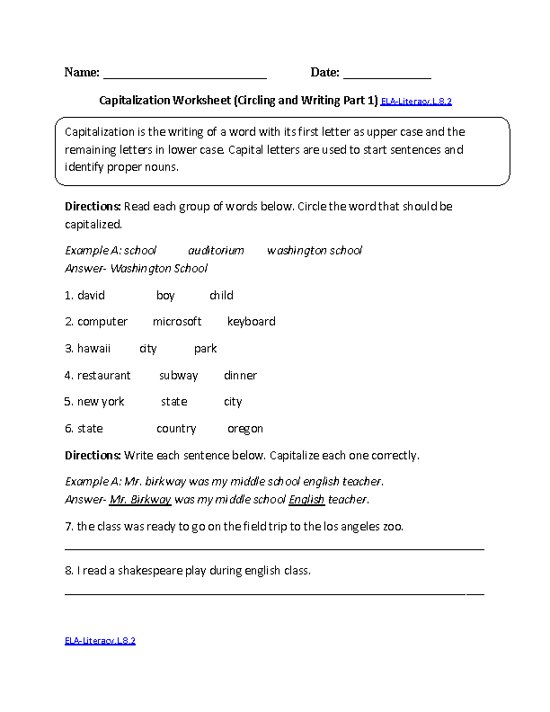 8th Grade Common Core Language Worksheets Englishlinx Com Board