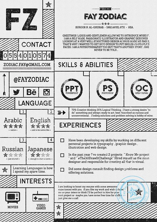 Fray Zodiac CV Note~♫ Pinterest Resume examples and Bowling - cool resume formats