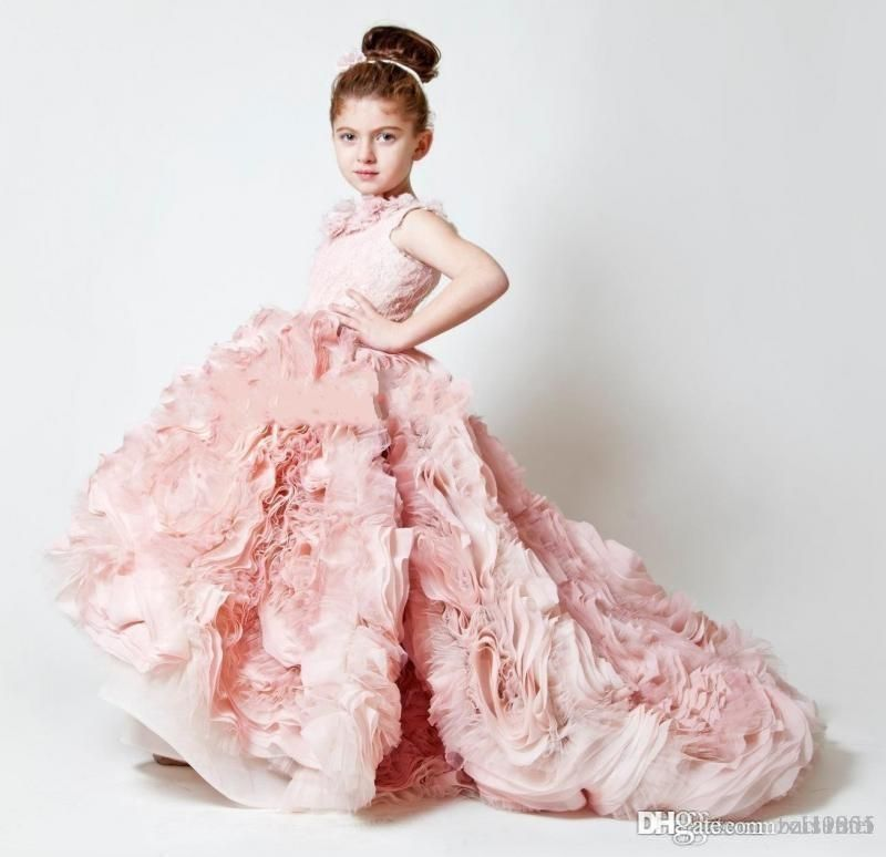 d1ca41145d97 New Pretty Flower Girls Dresses 2017 Ruched Tiered Ice Blue Puffy ...