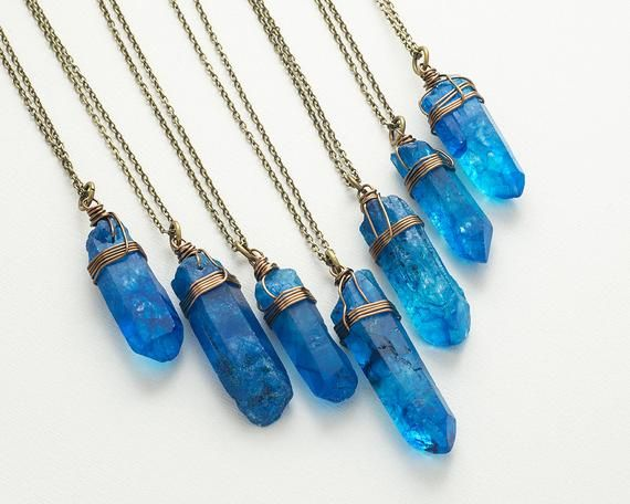 Large Blue Quartz Necklace Bronze Raw Crystal Necklace Quartz Point